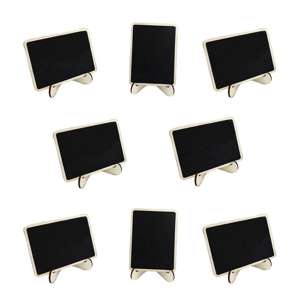 10pcs Mini Blackboard Wood Memo Board Message Board Rectangle Chalkboard with Stand by