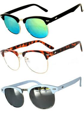 cbd037217d2 Product Image Half Frame Black Silver White Sunglasses Clear Green Silver Mirror  Lens Fashion Retro Uv Protection Brand. OWL