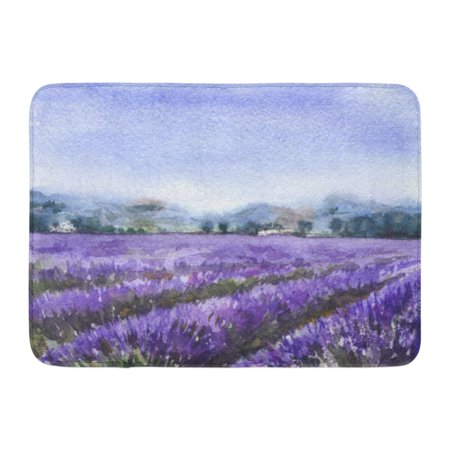 Serenity Lavender - KDAGR Blue Watercolor Painting Serenity Scene Blooming Lavender Field Nature Landscape Sketch Colorful Aromatic Doormat Floor Rug Bath Mat 23.6x15.7 inch