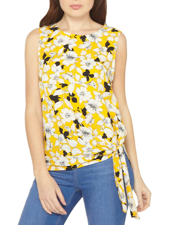 Ochra Flower Tie-Side Sleeveless Top