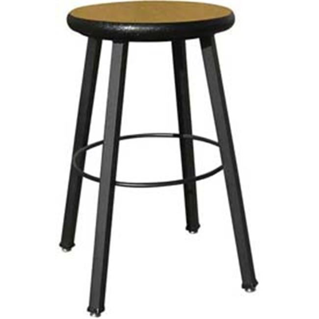 National School Lines QSSTL7186-AJ-32 24 inch Fixed Four-Legged Square Tube Fully Welded Stool, Bannister Oak Laminate -