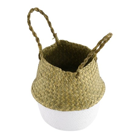 Foldable Seagrass Woven Storage Pot Handmade Flower Hanging Basket With Handle - image 2 of 8