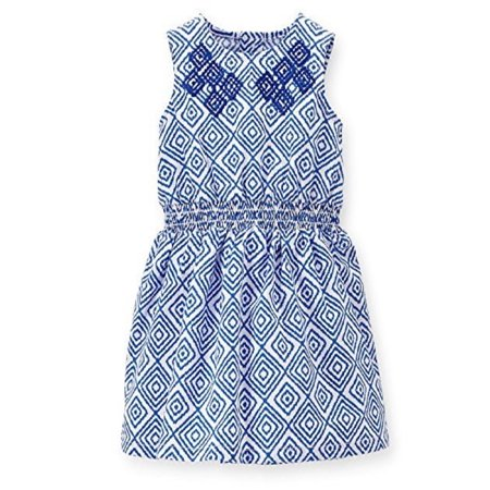 Baby Girls' Embroidered Geo Print Dress - Blue/White - 9 Months