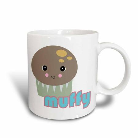 3dRose Cute Kawaii Muffy Muffin, Ceramic Mug, 15-ounce