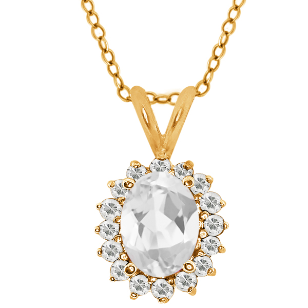 Oval White Topaz Yellow Gold Plated Sterling Silver  Pendant 1.92 Cttw With 18 Inch Chain