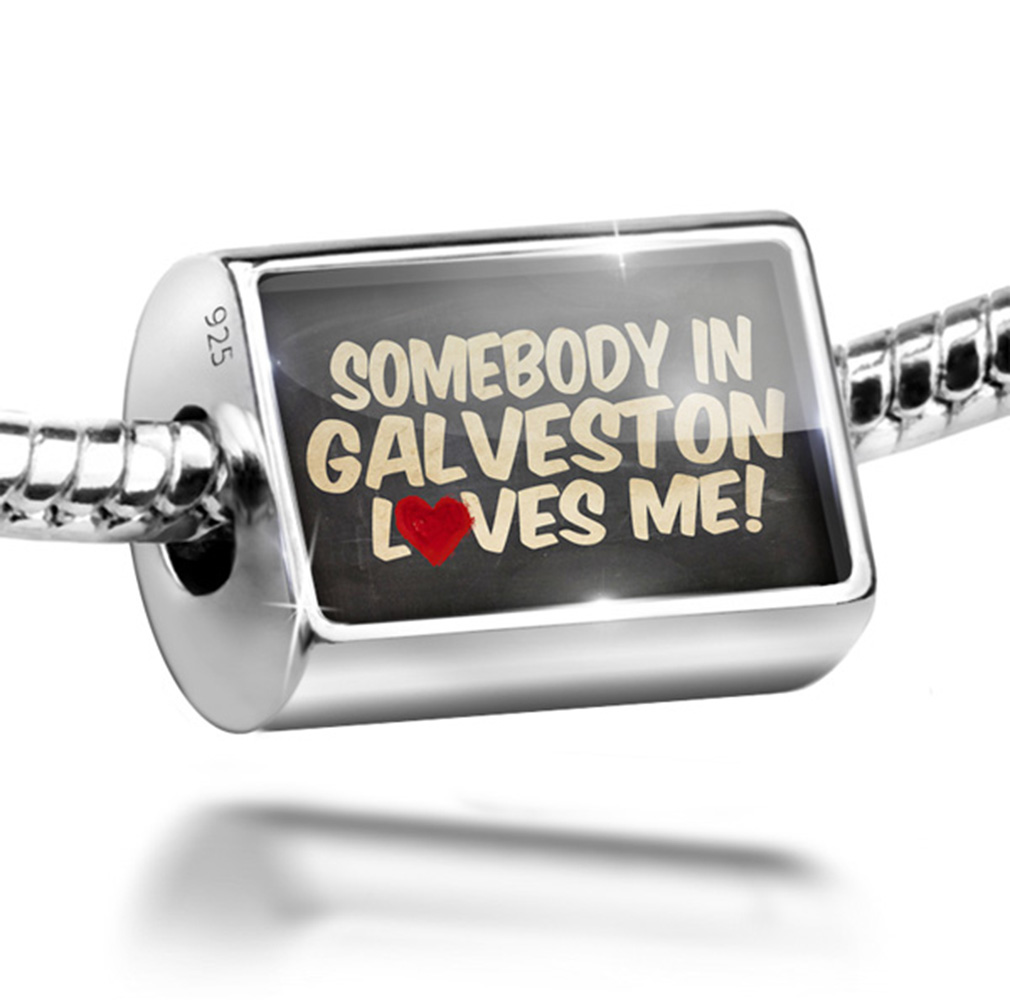 Bead Somebody in Galveston Loves me, Texas Charm Fits All European Bracelets by NEONBLOND