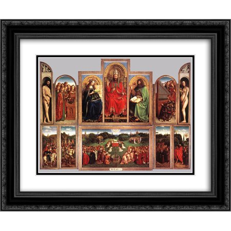 Van Eyck Ghent Altarpiece - Jan van Eyck 2x Matted 24x20 Black Ornate Framed Art Print 'The Ghent Altarpiece (wings open)'