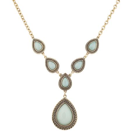 Lux Accessories Burnish Gold Tone Faux Jade stone Teardrop Statement Necklace