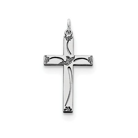 925 Sterling Silver Laser Designed Cross Religious Pendant Charm Necklace Latin Dove Gifts For Women For (Laser Designed Cross Charm)