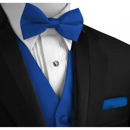 Italian Design, Men's Formal Tuxedo Vest, Bow-Tie & Hankie Set for Prom, Wedding, Cruise in Royal (Mens Complete Tuxedo Shirt Tie)