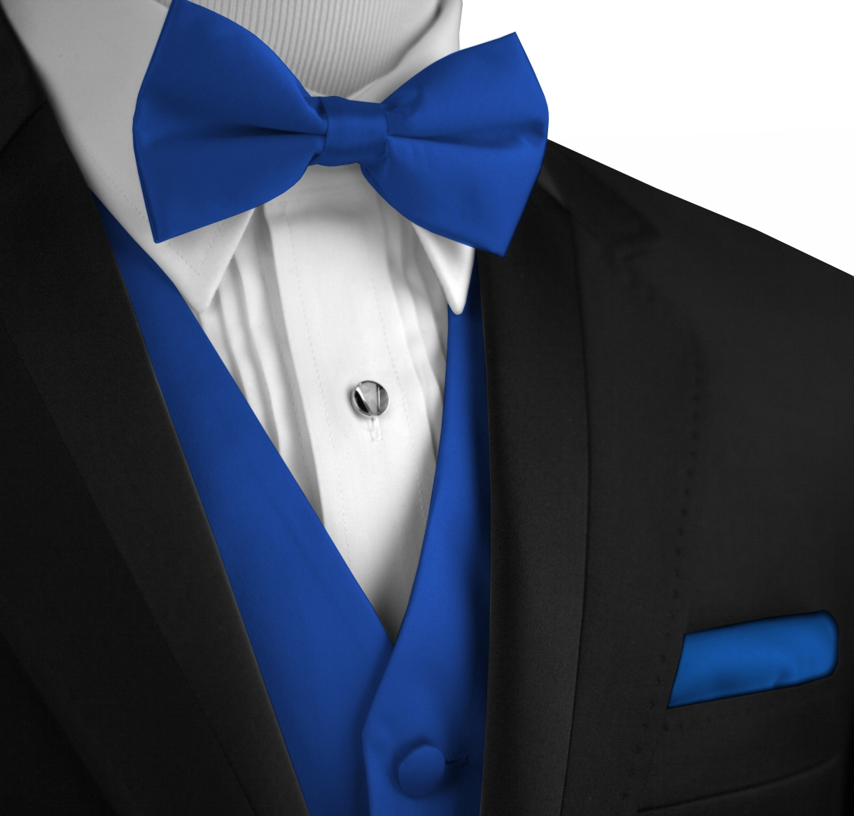 Italian Design, Men's Tuxedo Vest, Bow-Tie & Hankie Set in Royal Blue