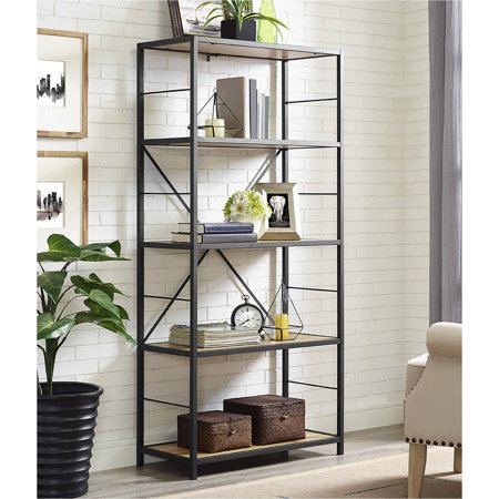 "Manor Park 60"" Rustic Metal and Wood Media Bookshelf Bookcase, Barnwood"
