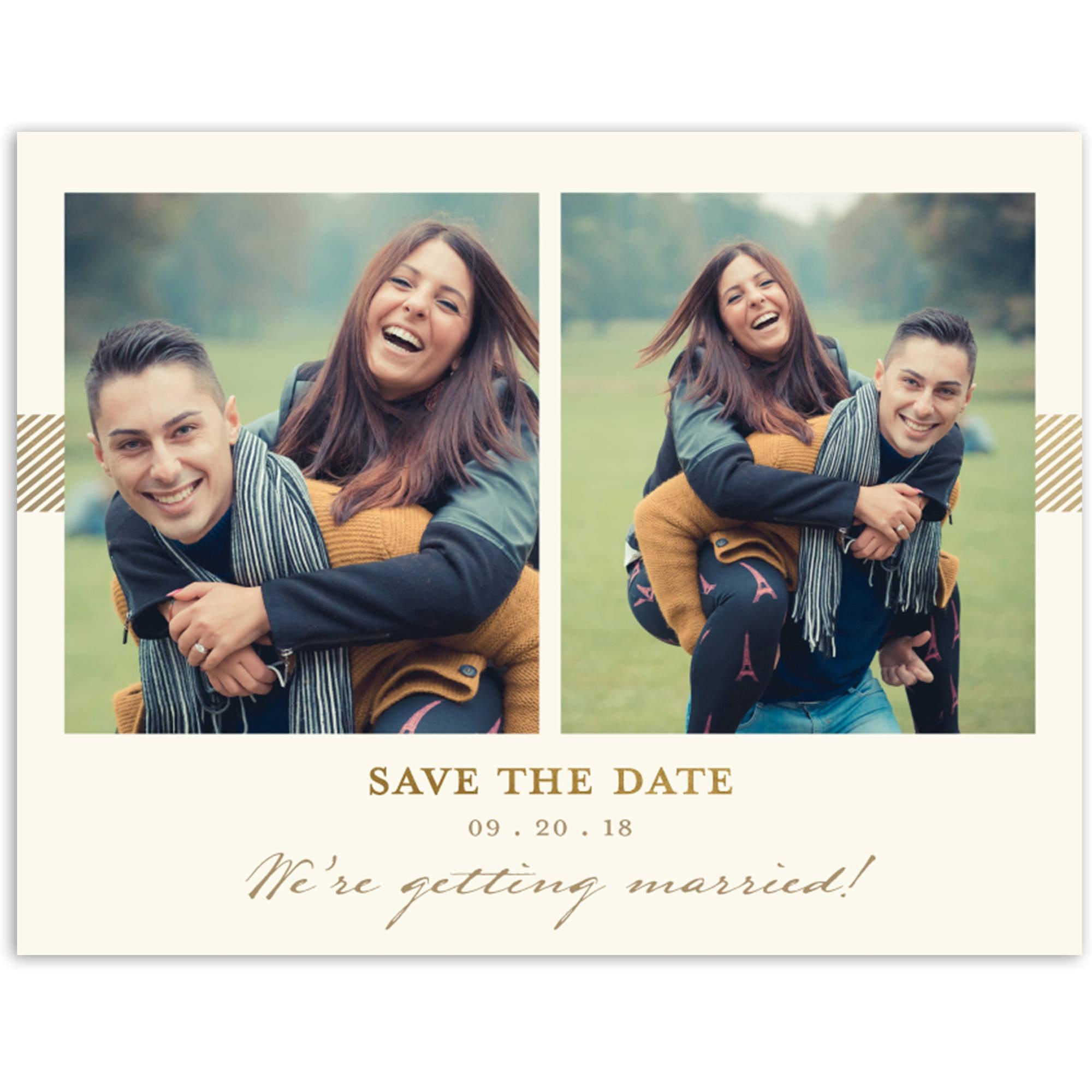 Classic Stripe Wedding Save the Date Postcard