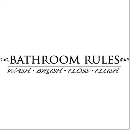 Bathroom Rules Wash Brush Floss Flush Vinyl Lettering Wall Decal Sticker (6