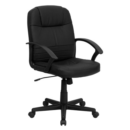 Leather Mid-Back Executive Swivel Chair, Black