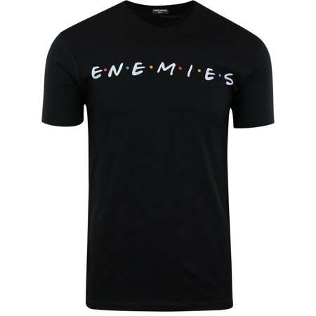 ShirtBANC Enemies and Friends Mens Shirt Funny Meme Shirt (Black,