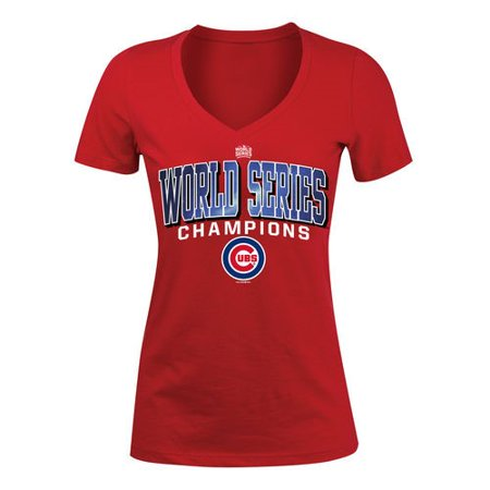 Chicago Cubs 5th & Ocean by New Era Women's 2016 World Series Champions V-Neck T-Shirt - Red