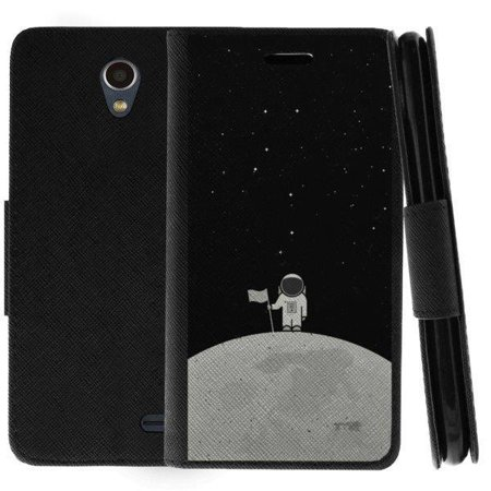 TurtleArmor ® | For ZTE Prestige 2 | Maven 3 | Overture 3 | Prelude Plus [Wallet Case] Leather Cover with Flip Kickstand and Card Slots - Moon Landing