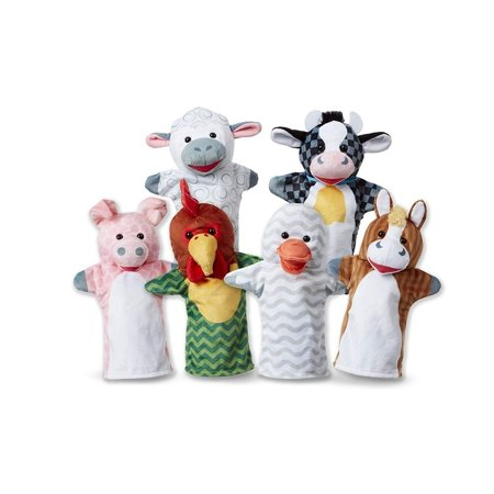 Melissa & Doug Barn Buddies Hand Puppets, Set of 6 (Cow, Sheep, Horse, Duck, Chicken, Pig) - Melissa And Doug Barn