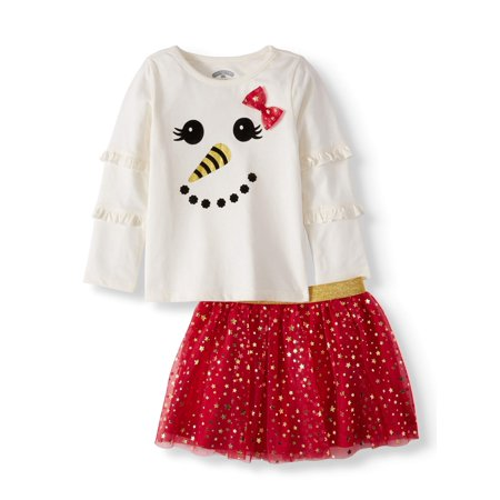 Toddler Girls' Christmas Long Sleeve Ruffle T-Shirt and Print Tutu, 2-Piece Outfit Set