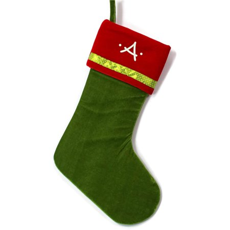 Monogrammed Christmas Stocking, Green with Red Cuff Velveteen with Ribbon with Kids Embroidered Initial](Monogrammed Stocking)