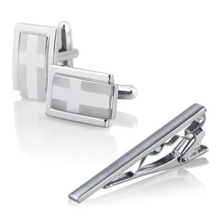 Zodaca Men Metal Silver Tone Necktie Tie Bar Clasp Clip Clamp+Cufflinks Shirt Business