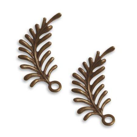 Right Leaf (Vintaj Natural Brass Fastenables Fern Curving Right Leaf Charms 30x12mm)