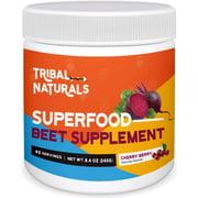Tribal Naturals Superfood Beet Supplement, 9.2oz Organic Beet Root Powder, Pre Workout for Men & Women - Cherry Berry Flavor