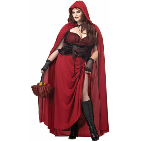 Dark Red Riding Hood Plus Size Women's Adult Halloween Costume - French Maid Costumes Plus Size