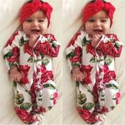 Newborn Infant Kids Baby Girl Floral Bodysuit Romper Jumpsuit Outfit Clothes Set
