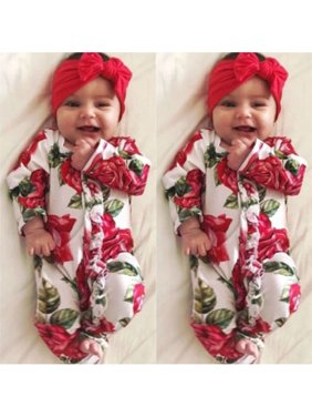 447be9c008a Product Image Newborn Infant Kids Baby Girl Floral Bodysuit Romper Jumpsuit  Outfit Clothes Set