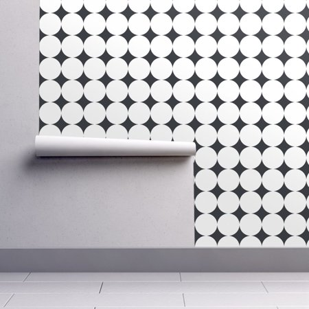 Removable Water-Activated Wallpaper Jumbo Polka Dots Retro Dots