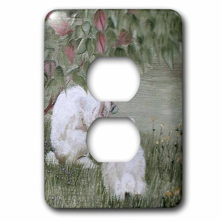 3dRose 2 Bunny Rabbits Under a Bush Eating - One Sideview One Rear view - 2 Plug Outlet Cover (lsp_44346_6)