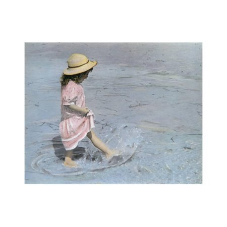 - Little Girl Playing in Water on Beach Print Wall Art By Nora Hernandez