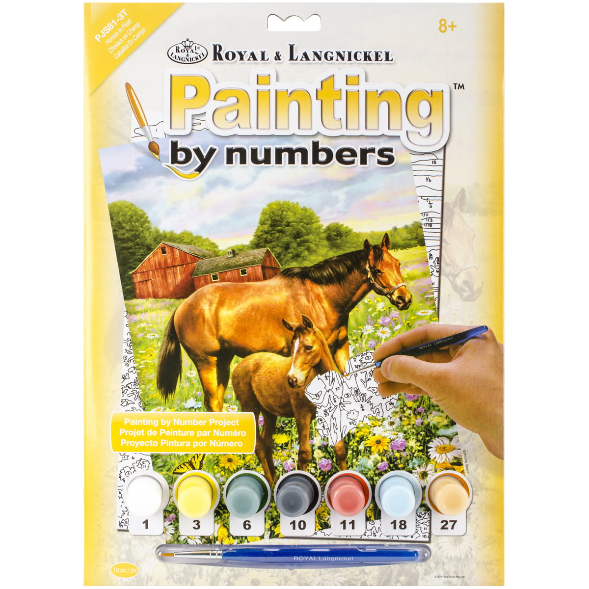 Small Horse in Field PJS-81 ROYAL BRUSH 8.75 by 11.75-Inch Junior Paint by Number Kit