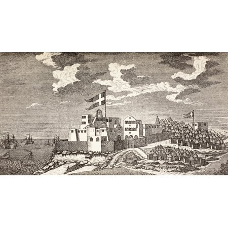 Danish Colonial Fort Fort Christiansborg Now Osu Castle Accra Ghana As It Was In 1760 The Outpost To The Right Is Fort Provestenen From Afrika Dets Opdagelse Erobring Og Kolonisation Published In Cope