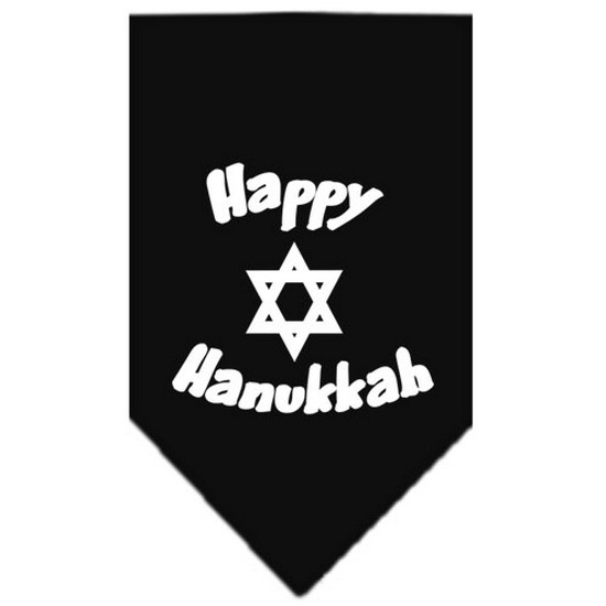 Happy Hanukkah Screen Print Bandana Black Large