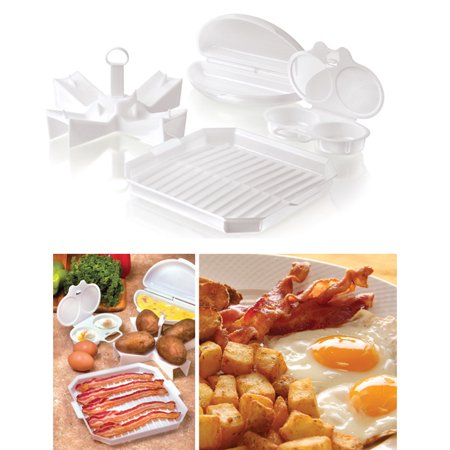 4 PC Microwave Starter Set Eggs Bacon Potatoes Baker Tray Microweavable Cooker - Egg Tray
