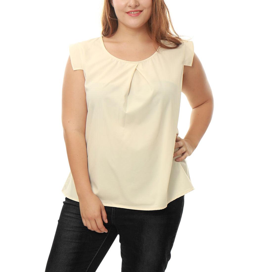 Unique Bargains Women's Plus Size Inverted Pleat Front Short Sleeves Blouse