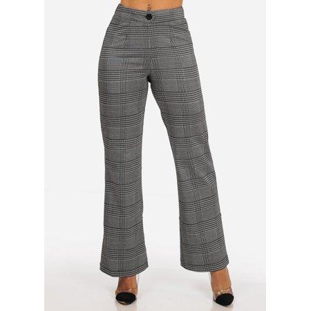 Womens Juniors Office Business Work Wear Careerwear High Waisted Charcoal Gray Houndstooth Print Dress Pants 40631U