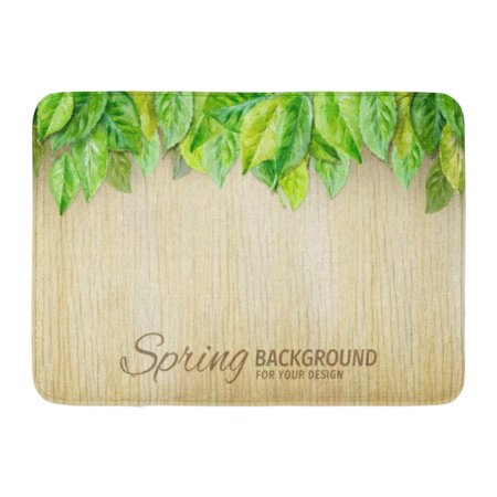 GODPOK Aquarelle Beige Leaf Spring Leaves on Wood Watercolor Green Abstract Back Rug Doormat Bath Mat 23.6x15.7 inch