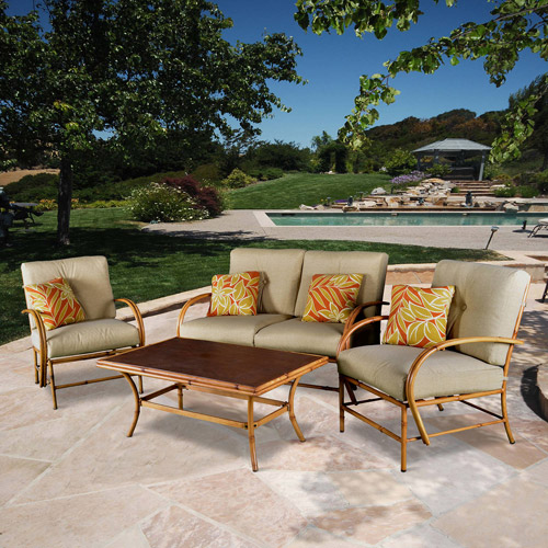 Island Bamboo 4-Piece Patio Conversation Set, Seats 4
