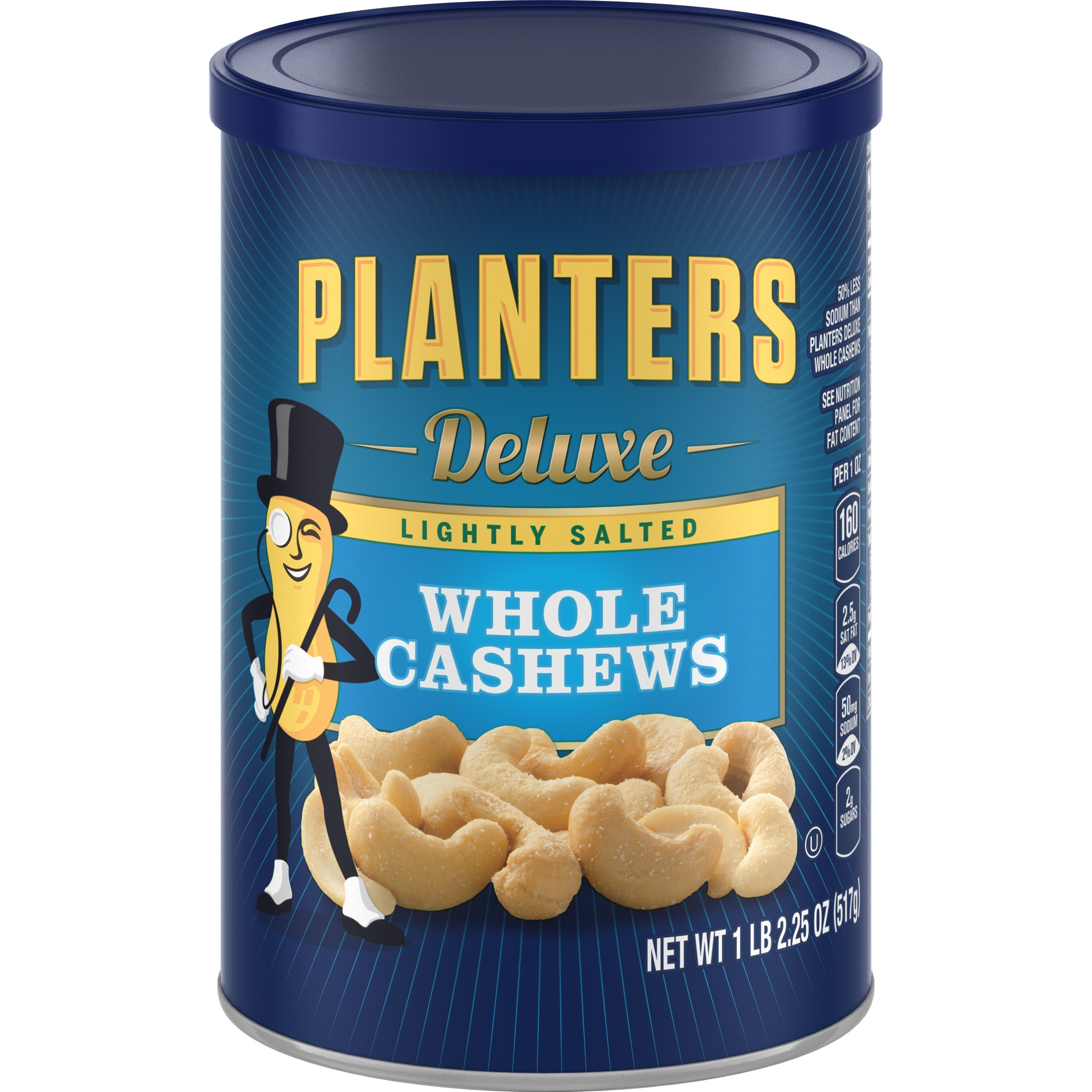 Planters Deluxe Lightly Salted Whole Cashews, 18.25 oz Can