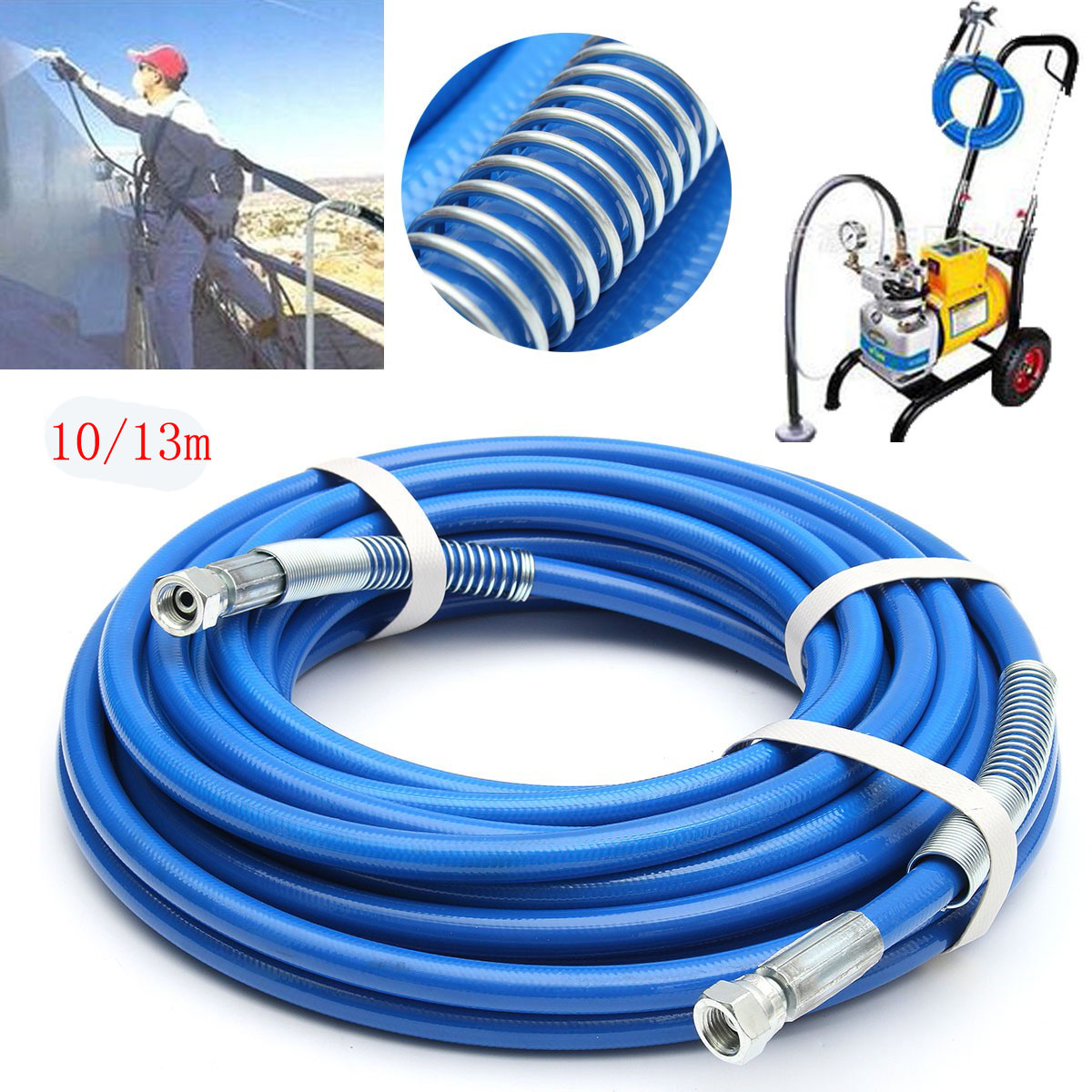 13M 5000PSI High Pressure Airless Paint Sprayer Hose Sprayer Gun Flexible Fiber 1/4'' Tube,Blue