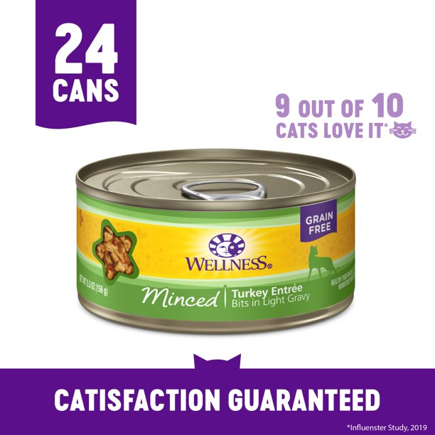 Wellness Complete Health Natural Grain Free Wet Canned Cat Food, Minced Turkey Entree, 5.5-Ounce Can (Pack of 24)