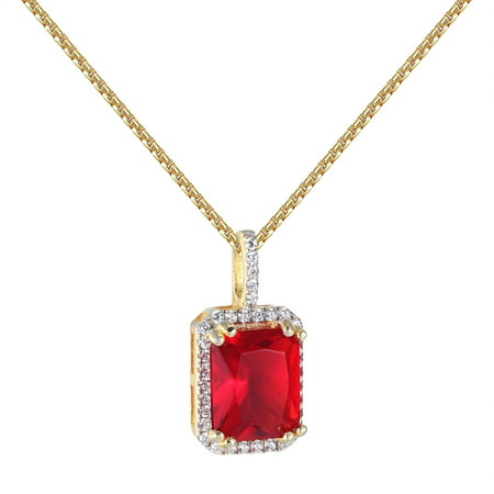 Red Ruby Cz Pendant Solitaire 14K Gold Finish Sterling Silver Free 24  Necklace