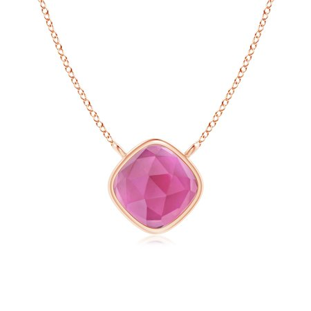 October Birthstone Pendant Necklaces - Bezel Set Cushion Pink Tourmaline Solitaire Necklace in 14K Rose Gold (5mm Pink Tourmaline) - (Bezel Set Solitaire Necklace)
