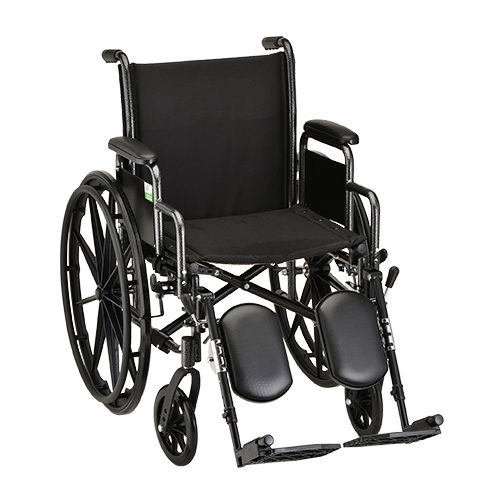 18 Inch Steel Wheelchair with Detachable Arms and Elevating Footrests - 1 Each / Each - 5180SE
