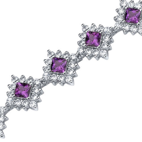 Oravo Timeless Splendor Princess Cut Gemstone Bracelet in Sterling Silver