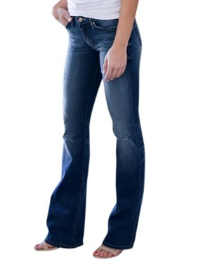 Women's Casual Vintage Denim Trousers Stretchy Slim Bell Ripped Pants Jeans